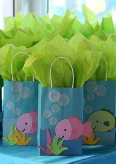Under the sea birthday party favors! See more party planning ideas at… 4th Birthday Parties, Birthday Party Favors, Birthday Ideas, Fish Party Favors, Fish Party Decorations, 2nd Birthday, Little Mermaid Parties, Under The Sea Party, Party Planning