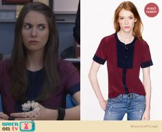 Annie's burgundy and navy front panel blouse on Community. Outfit Details: http://wornontv.net/25581 #Community #fashion