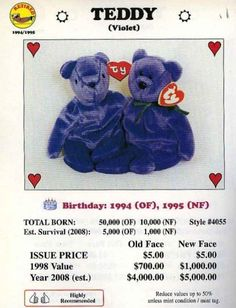 Teddy the violet bear was estimated to be between $4,000 and $5,000 depending on which edition you had.