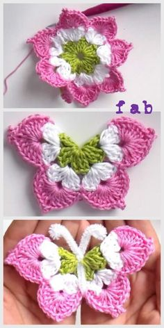 Crochet Granny Square Ideas Crochet Butterfly Free Pattern-Video - Crochet Butterfly Free Pattern-Video: crochet a eight pointed flower and fold them into a butterfly. Pattern in English and Spanish. Crochet Butterfly Free Pattern, Crochet Flower Patterns, Crochet Designs, Crochet Flowers, Knitting Patterns, Crochet Ideas, Pattern Flower, Yarn Flowers, Knitting Toys