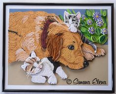 Beautiful dog and cat quilling Quilling Images, Quilled Paper Art, Paper Quilling Designs, Quilling Paper Craft, Quilling Patterns, Paper Crafts, Quilling Ideas, Quilled Creations, Quilling Tutorial
