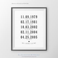 Special Dates What a Difference a Day Makes Christmas Gift for Mom and Dad Personalized Dates Wall Art Mothers Day Gift Parents Anniversary by BlackstarPress on Etsy https://www.etsy.com/listing/252032166/special-dates-what-a-difference-a-day