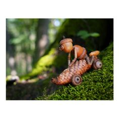 Shop Acorn elf rider postcard created by Dubanci. Acorn Crafts, Pine Cone Crafts, Wood Crafts, Diy And Crafts, Crafts For Kids, Arts And Crafts, Autumn Crafts, Nature Crafts, Deco Nature