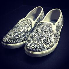 Custom Hand Drawn Sharpie Doodle Shoes Vans Style Shoes Custom Vans Shoes Henna Shoes via Etsy