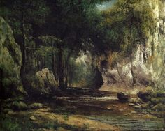 Gustave Courbet - Forest Scene with Stream, 1855