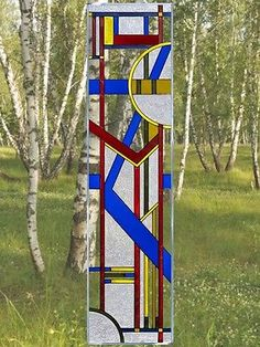 42x10 DECO PRIMARY Blue Yellow Red Stained Art Glass Window Suncatcher
