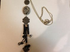 Long silver necklace with large stone by MyFavoriteAccessory, $28.00