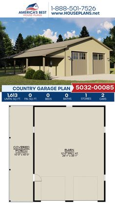 Plan 5032-00085 delivers a Country style garage with 1,613 sq. ft. and a covered porch. #country #garage #garageplans #architecture #houseplans #housedesign #homedesign #homedesigns #architecturalplans #newconstruction #floorplans #dreamhome #dreamhouseplans #abhouseplans #besthouseplans #newhome #newhouse #homesweethome #buildingahome #buildahome #residentialplans #residentialhome