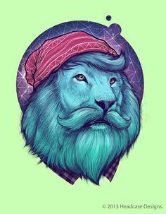hipster lion by Bernard's Fauna