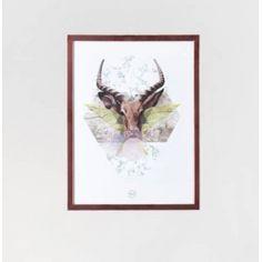 Lost deer plakat med ramme 30 x 40 artwork