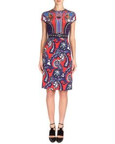 Scroll-Print Silk Sheath Dress, Red/Blue by Mary Katrantzou at Neiman Marcus.