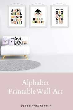 Are you looking for an easy, affordable and convenient way to decorate your child's room then you're in the right place. These neutral alphabet numbers prints are the perfect pieces that will add the finishing touch to your child's room or nursery. #alphabetposter #abcnurserywallart #kidsroomdecor #alphabetnumbersprint Nursery Prints, Nursery Wall Art, Playroom Printables, Penguin Nursery, Playroom Wall Decor, Scandinavian Nursery, Alphabet And Numbers, Child's Room, Printable Wall Art