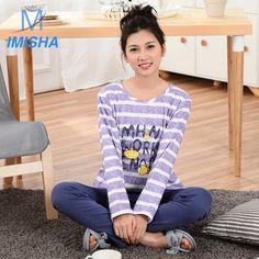 2017 Spring Student Fashion Cute Simple and Elegant Striation Cotton Round Neck Long Sleeve  women's Homewear Pajamas Sleepwear #Affiliate