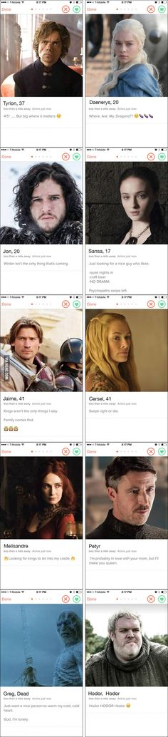 10 Profiles For Game Of Thrones Characters If They Had Dating App