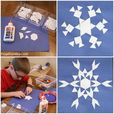 Math Art for Kids: Pattern Block Snowflakes