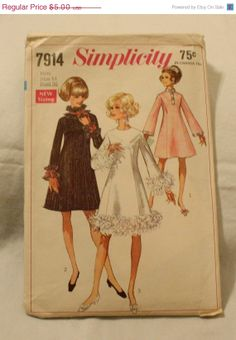 25% off Sale Simplicity 7914 Vintage 1960s Party Dress Sewing Pattern Size 14 Bust 36