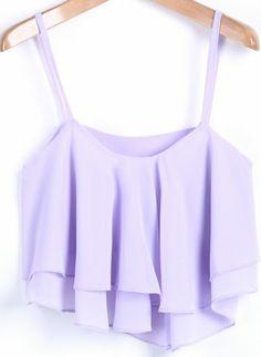 Purple Spaghetti Strap Ruffle Chiffon Vest