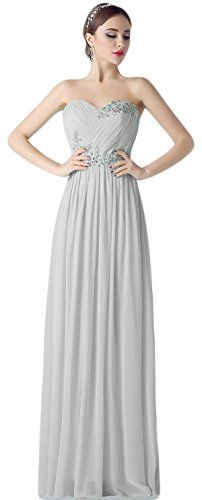 Exlinalesha Women's Appliques Bridesmaid Dresses Long Prom Gown Gray Size 12. Item Material: Chiffon / Satin / Pongee / Appliques. Features: 1)Sweetheart 2)V Neck 3)Lace Up 4)Appliques Beaded 5) Strapless. Suiatble for casual /formal parties/Dinner Night/Bridesmaid/Evening. Please refer to OUR US Size Chart (5th picture on left)to choose a suitable size .More Promotion options in our store, please click in Exlinalesha above the Title . Note : When you place the order, please pay an attention…
