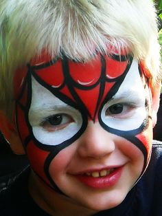 Spiderman face painting, charming faces face painting, baltimore