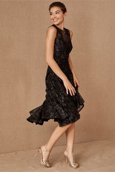 Metallic lace with lattice insets brings texture and sparkle to this chic, sleeveless style with a playful flounce hem.Only available at BHLDN Event Dresses, Occasion Dresses, Formal Dresses, Dresses Dresses, Party Dresses, Formal Wear, Short Dresses, Flapper Outfit, Flapper Dresses
