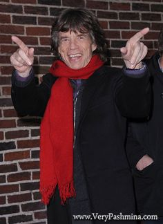 #MickJagger Wears A Cherry #RedScarf To The Late Show with David Letterman