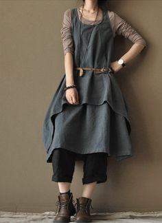 Old Blue  linen dress  two-piece cotton dress loose cotton  dress  cotton coat. $86.00, via Etsy.