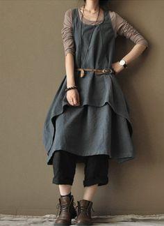 Old Blue  linen dress  two-piece cotton dress loose cotton  dress  cotton coat