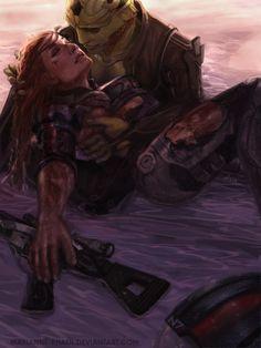 Thane & Shepard / Mass Effect / I Will Meet You Across the Sea by marianne-khalil.deviantart.com on @deviantART