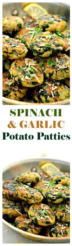 Spinach and Garlic Potato Patties - Delicious, super flavorful Patties made with mashed potatoes, spinach and garlic.