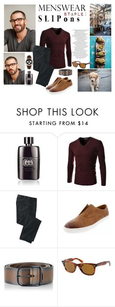 """""""#menswear #slipons"""" by pintosousamariana ❤ liked on Polyvore featuring Salsa, Gucci, TheLees, TravelSmith, Zanzara, Diesel, Ray-Ban, Breitling, men's fashion and menswear"""