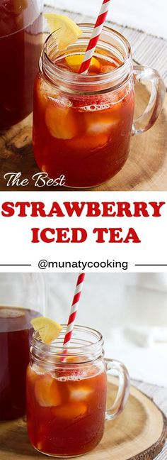 Strawberry Iced Tea. Delicious and refreshing summer drink. Nonalcoholic kid friendly drink. Learn how to make strawberry iced tea using homemade strawberry syrup. www.munatycooking.com | @munatycooking