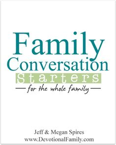 Be sure to get this FREE eBook @ www.DevotionalFamily.com || Family Conversation Starters is the perfect way to create intentional and meaningful family time together. This FREE eBook is something we put together out of a strong desire to have more open-ended enjoyable conversations with one another. We hope it blesses your you and your family too.
