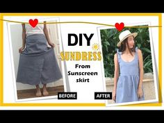 HOW TO MAKE SUNDRESS - Convert sunscreen skirt - YouTube
