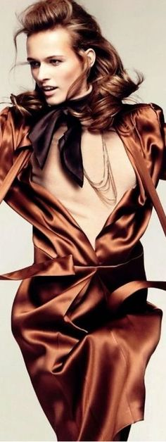 Brown Fashion, High Fashion, D Brown, Fashion Themes, Flapper Style, Color Mixing, Orange Color, Glamour, Style Inspiration