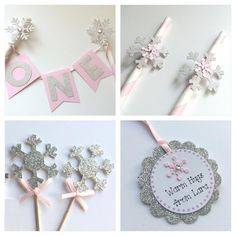 Winter Snow Party Package.  Pink and Silver Snowflake Theme.  Winter Wonderland. by PaperTrailbyLauraB on Etsy https://www.etsy.com/listing/211479878/winter-snow-party-package-pink-and