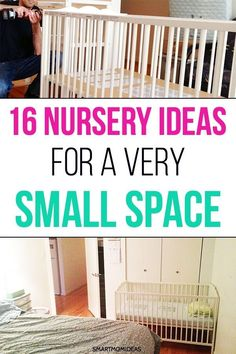 Get 16 small nursery ideas if you live in a one-bedroom apartment or small place. Get a small nursery layout and the things you need to have a small nursery organization. Small Space Nursery, Small Rooms, Small Apartments, Small Nursery Layout, Small Baby Space, Cribs For Small Spaces, Small Baby Nursery, Apartment Nursery, Nursery Room