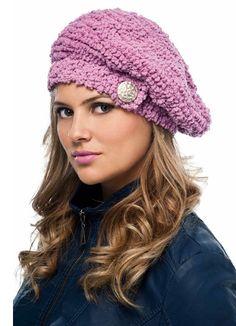 Boina Rosa com Fio Dots http://graficos-patrones-crochet-tricot.blogspot.com.ar/