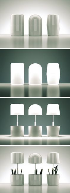"""Cap Lamp"": This clever collapsable lamp also doubles as an office organizer 