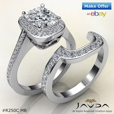 Halo Pave Cushion Bridal Set Diamond Engagement Ring GIA F VS2 Platinum 1.86 ct