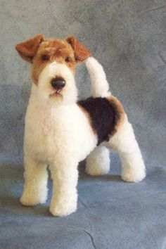 One of a kind Wire fox terrier portrait dog in mohair, by Lisa Pay