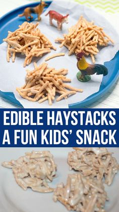 Haystacks Snack for Kids This adorable haystacks snack is the perfect farm theme., Haystacks Snack for Kids This adorable haystacks snack is the perfect farm themed treat for kids! Perfect for a farm-themed activity with the book 'Li. Snacks To Make, Fun Snacks For Kids, Kids Meals, Preschool Snacks, Preschool Teachers, Christmas Food Treats, Christmas Desserts, Toddler Snacks, Toddler Crafts