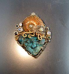 Ammonite Turquoise Druzy by Baker Custom Jewelry