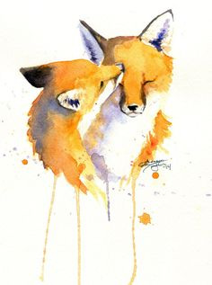 A beautiful watercolor painting of two snuggling foxes. Watercolor Animals, Watercolor Paintings, Watercolour, Cute Drawings, Animal Drawings, Fox Painting, Fox Drawing, Fox Illustration, Watercolor Illustration