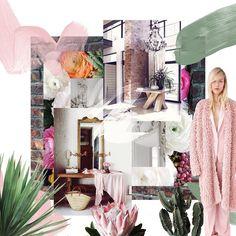 via @habitualfeels daily #instagram moodboards #IG #tropical #moodboard #pink #pastel #green