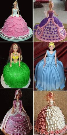 Different cake ideas - Barbie Cake lovely tutorials.com Should probably try this for my girls next bday.