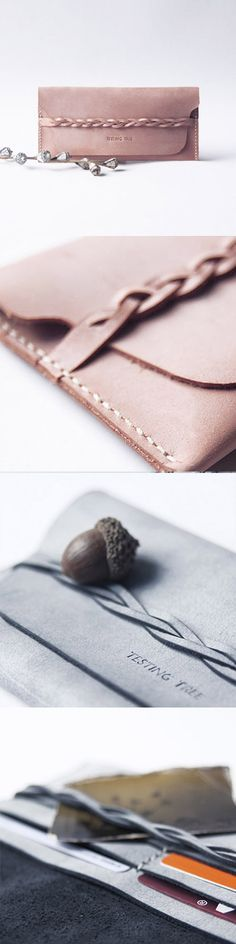 Love the braid! Handmade leather long women braided tooled wallet wallet purse wallet