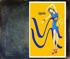 Aquariusfashion illustrationGreeting Card 55x8 by MedusasEmporium2, $6.00