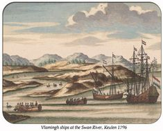 Willem de Vlamingh's ships, with black swans, at the entrance to the Swan River, Western Australia, coloured engraving derived from an earlier drawing (now lost) from the de Vlamingh expeditions of Australia Day, Western Australia, Queens Birthday Holiday, Holidays In June, Drawing Now, The Settlers, Black Swan, Popular Culture, Vintage Images