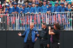 Europe's captain Colin Montgomerie is interviewed on the first tee during the 2010 Ryder Cup at Celtic Manor. #RyderCup