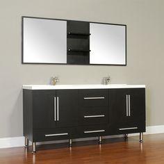 "Alya Bath Ripley 67"" Double Modern Bathroom Vanity Set with Mirror & Reviews | Wayfair"